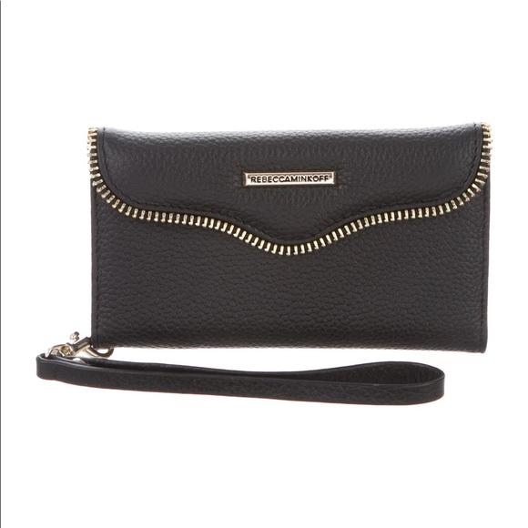 Rebecca Minkoff M.A.B Tech Wristlet Black Leather